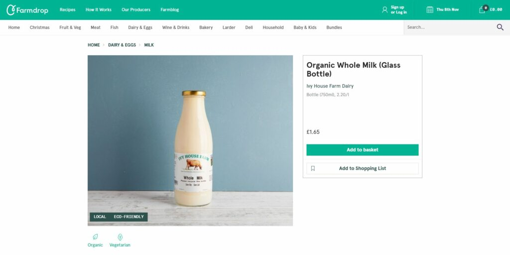 example of online grocery market: Farmdrop